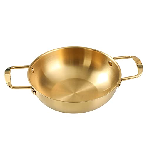 Cozy69 Sartén para freír y paella, de acero inoxidable con asas dobles para cocinar huevos verdes grandes para cocinar pollo y restaurante ideal para arroz o freír (18 cm, dorado)