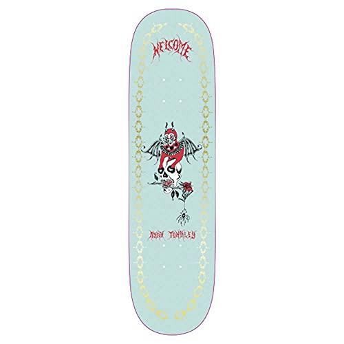 Welcome Angel Ryan Townley su Enenra Skateboard Deck Light Teal Gold Foil 21,8 cm