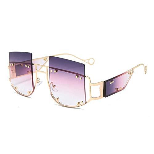 ZZOW Gafas De Sol Cuadradas De Gran Tamaño con Remaches A La Moda para Mujer, Gafas De Sol con Montura De Metal De Lujo, Gafas De Sol para Hombre, Gafas Uv400