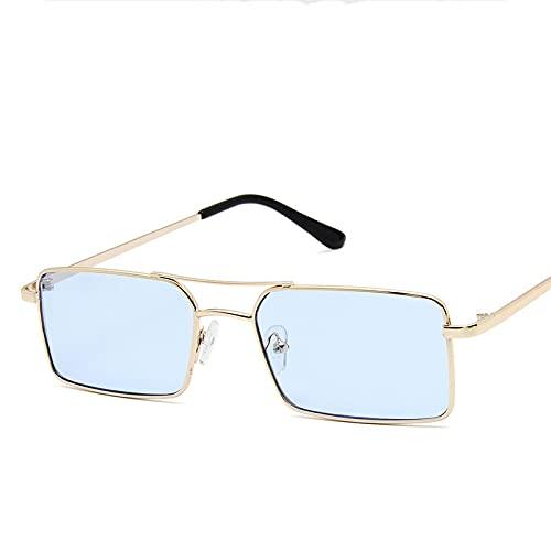 Hount Gafas de Sol clásicas Retro para Mujer, Gafas de Sol de Metal Steampunk de Lujo para Mujer, Espejo Vintage UV400 Azul