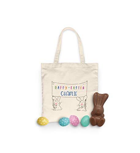 unknow Banderín de Pascua – Bolsa de algodón color natural – Bolsa de regalo de Pascua – Bolsa de caza de huevos – personalizada