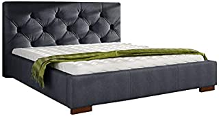 Asghar Furniture - Kushion deluxe Modem Bed - Charcoal Grey, Super King Without Mattress
