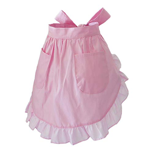 Waist Apron Cute Retro Vintage Apron Cooking Kitchen Ruffle Maid Apron with Pockets for Women Girls (Pink)