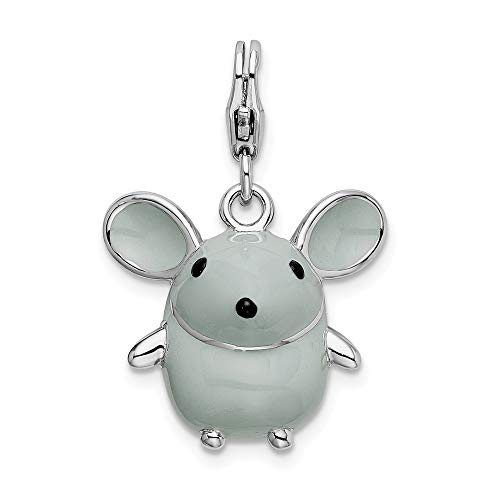 Sterling Silver 3D Enameled Grey Mouse Charm with Lobster Clasp