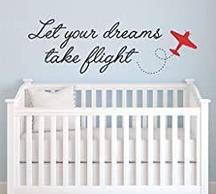 Adhesivo decorativo para pared con cita de Dreams Take Flight, 28 de ancho por 9 de alto, vinilo biplano para niños, nombre de bebé, guardería, cita infantil, citas para niños, sala de juegos, U19 gratis para puerta de hola blanca