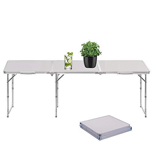 Sunreal Mesa Plegable portátil 1,82 m Ajustable Plegable para Camping/Cocina/Mesa de Trabajo...