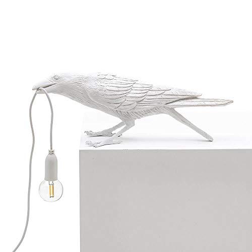 Seletti Bird Lamp Playing lámpara de mesa cuervo blanco