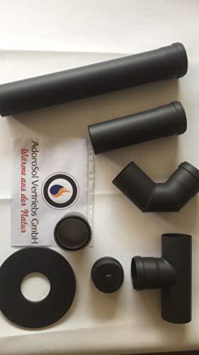 AdoroSol Vertriebs GmbH Rauchrohr Set Pellet in Schwarz, Ø 80 mm, Ofenrohr für Pelletöfen