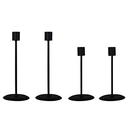Schwarzer Kerzenhalter, Metall Kerzenleuchter, Tisch Kerzenhalter, Dekorative Kerzenhalter, Hochzeit Kandelaber, Kerzenständer, für Hochzeiten, Abendessen, Partys, Tischdekoration, 4 Stück