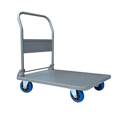 Carretillas Carro de plataforma de acero de remolque pesado con asa y ruedas silenciosas para el aeropuerto de almacén moviéndose de gran capacidad de carga de carga camión de mano plegable Plegables