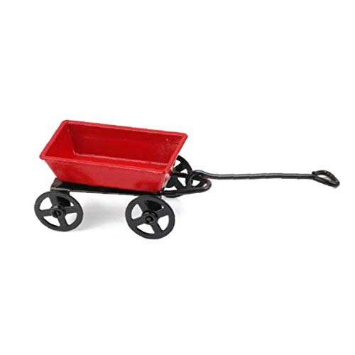 Berrywho Tiny Red Wrought Iron Trolley Garden Accessory Mini House Crafts Miniature Play Scene 1:12 Model Doll House Accessories Decoration