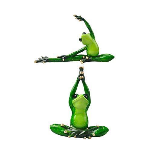 PETSOLA 2pcs 3D Yoga Frosch Figur Dekofigur Skulptur Gartendeko Gartenfigur
