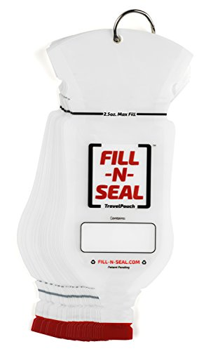 (25) 2.5oz Heat Sealed Travel Pouches by Fill-N-Seal, TSA Compliant, No Funnel Need, Resealable, Disposable, BPA Free