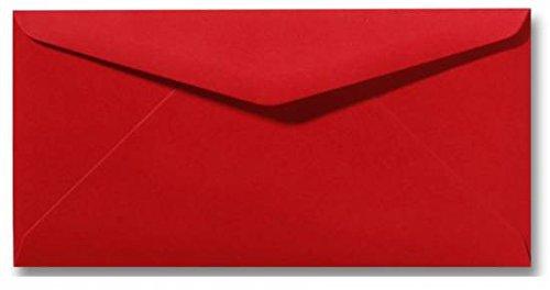 50 - Briefumschläge in Rosen Rot Kuverts in DIN Lang Format 110 x 220 mm | Nassklebung | komplett durchgefärbtes Papier | Post-Umschläge ohne Fenster | ideal für Grußkarten und Einladungen