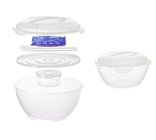 Rotho Salat Butler Schüssel Salatschüssel + integr. Kühlakku, Besteck, Dressingschüssel (Multifunktionsbox) (Weiß)