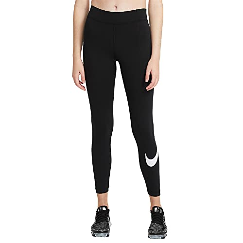 Nike W NSW ESSNTL LGGNG Swoosh Mr, Leggings Femme, Black/(White), M
