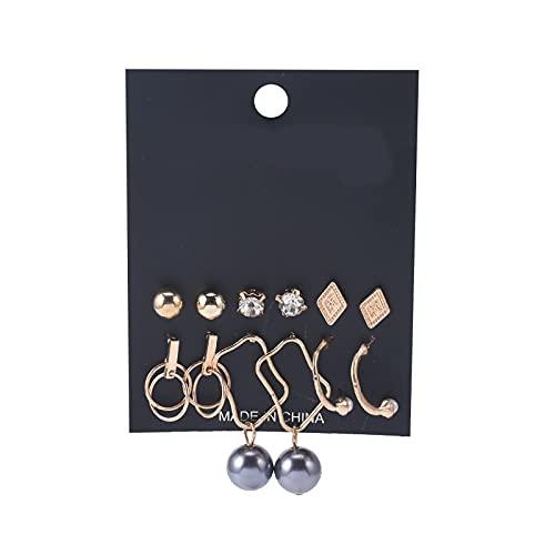 1 arete de aro para niñas con personalidad y perlas de circonita