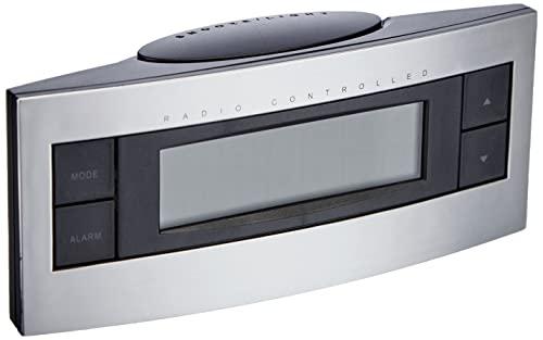TFA Dostmann Digitaler Funk-Wecker, 60.2511, Zeitzone, manuell einstellbar, Uhrzeit/Wochentag und Datum, schwarz/silber