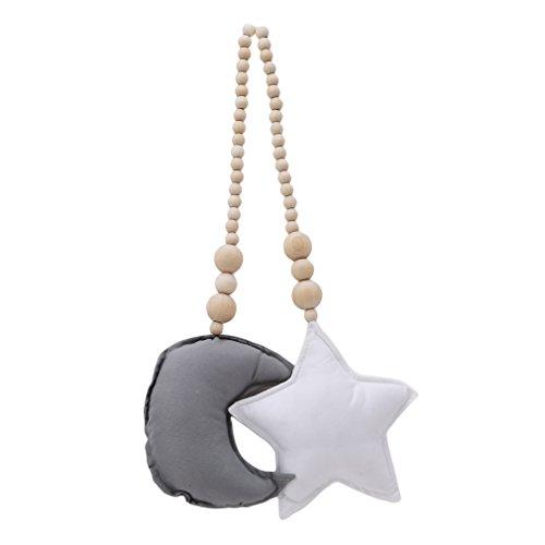 Yinew Wooden Bead Tassels Moon Star Pendant Hanging Ornament Kids Baby Nursery Room Decor Wedding Ornament Wall Hangings,Grey Moon White Star