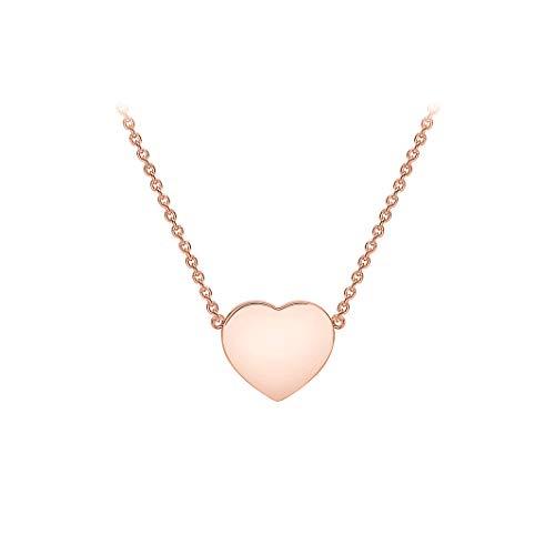 Carissima Gold Collar con Corazón 11,5mm x 10,5mm para Mujer en Oro Rosa 9K (375) Ajustable - 41cm/16' - 43cm/17'