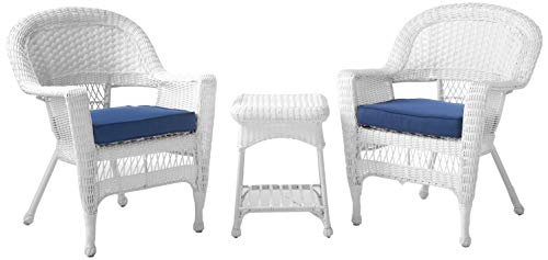 Jeco 3 Piece Wicker End Table Set with with Blue Chair Cushion White