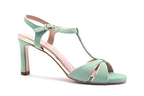 MENBUR 2050926 - Zapatos de Mujer, tacón 70, Sandalias Elegantes, Color Verde Agua Verde Size: 37 EU