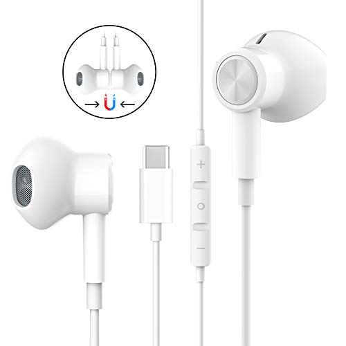 USB C Headphones HiFi Stereo Magnetic USB Type C Wired Earbuds USB C...