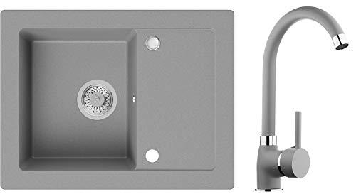 Spülbecken Grau 64 x 49 cm, Granitspüle + Küchenarmatur + Siphon, Küchenspüle ab 45er Unterschrank in 5 Farben mit Armatur Varianten, Einbauspüle von Primagran