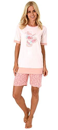 Damen Shortie Pyjama Schlafanzug Kurzarm von Normann, Federn als Motiv - 191 205 90 212, Farbe:rosa, Größe2:44/46