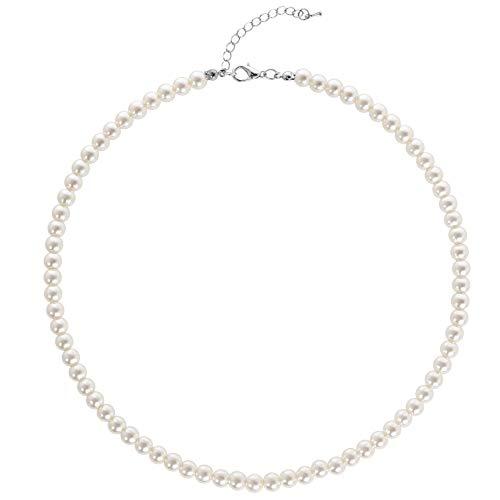 BABEYOND Collana Perle Charleston Accessori Charleston Collana Perle Anni 20 Collana Donna Gatsby Collana di Perle Sposa Collana Perle Donna Bianco (Diametro della Perla: 6 mm)
