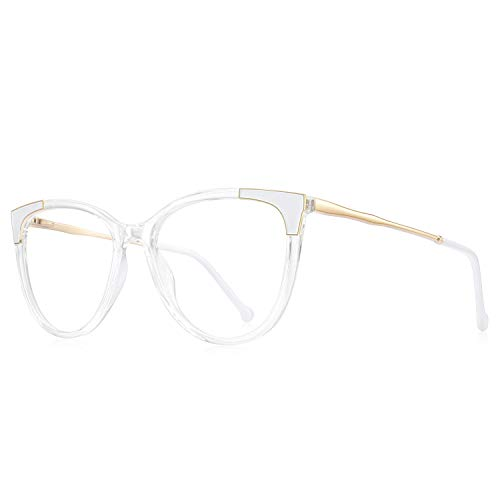 OLIEYE Cateye Blue Light Blocking Glasses Fashion Women Anti Eye Strain Computer Eyeglasses Frames Anti UV Clear Lens (Transparent, 53)
