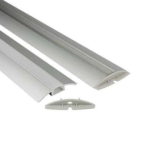 Preisvergleich Produktbild B-Ware - F01 Aluminium Profil 2m für LED Streifen + Abdeckung Aluprofil 2x Endkappen opal