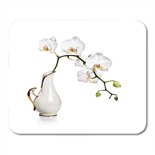 Muismat Studio Orchidee wit orchideeënbloesem in vaas retro steel muismat antieke muismat