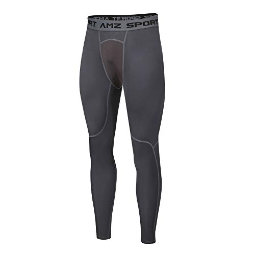 AMZSPORT Uomo Leggings da Compressione Pantaloni da Corsa Calzamaglia Sportiva Palestra, Grigio L
