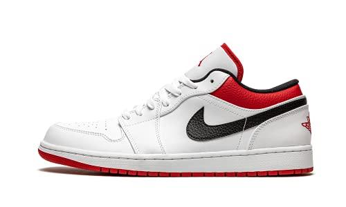 Uomo Jordan 1 Basso Bianco/Gym Rosso-Nero (553558 118) -, (bianco/rosso e nero.), 46 EU