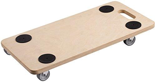 Metafranc Transportroller 590 x 290 mm - 200 kg Tragkraft - Sperrholz - PU-Räder / Möbelroller / Transporthilfe für Umzug / Rollwagen für Möbel-Transport / Kistenroller aus Holz / 822100