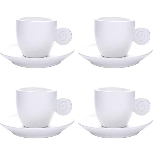 LICAILONGJIN7 Taza de café 3 oz Espresso Copas Conjunto de 4 con la adecuación de platillos de Porcelana de Primera Calidad Italiana Caffè de café, Taza de café Turco, Regalo, Mate Tazas Taza de café