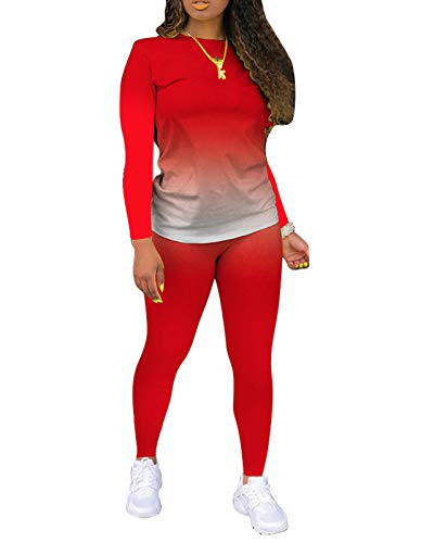 Two Piece Pants Outfits for Women - Plus Fashion Fall Outfits Jogging Suits Set Red
