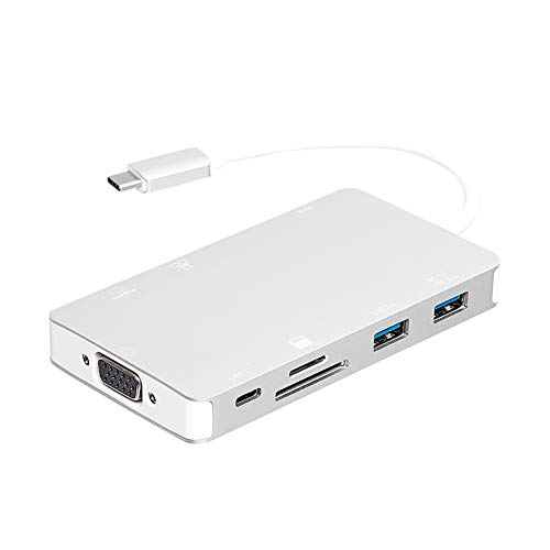 AmazonBasics Aluminum USB 3.1 Type-C Docking with HDMI, VGA, Ethernet, 2 USB-A, SD/TF Card Reader, Type-C data port (5Gbps), and Type-C charging port (PD 100W) - Silver