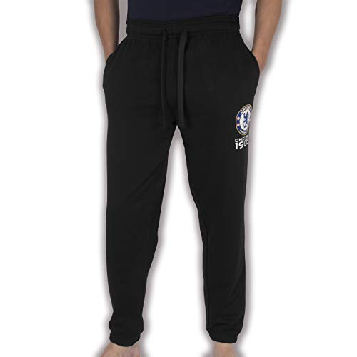 Chelsea FC - Herren Fleece-Jogginghose - Offizielles Merchandise - Geschenk für Fußballfans - Schwarz - S