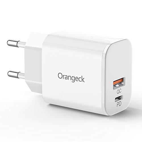 Orangeck USB C Cargadores, 18W Cargador USB Pared con QC3.0 Carga Rápida Mini Doble Puerto Adaptador de Red Enchufe Cargador Móvil para iPhone 11 Pro X MAX, Galaxy S10 S9, iPad Pro etc. (White)