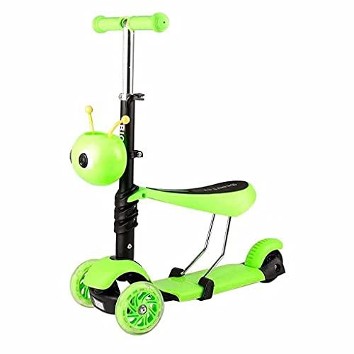 Beau Mini roeur Mini Scooter Push Walker avec siège détachable Trois dans Un Scooter Chariot de bébé Scooter Clignotant Feuille Jolie Boy Skater Girl Girl Girl (Bleu) (Color : Green)