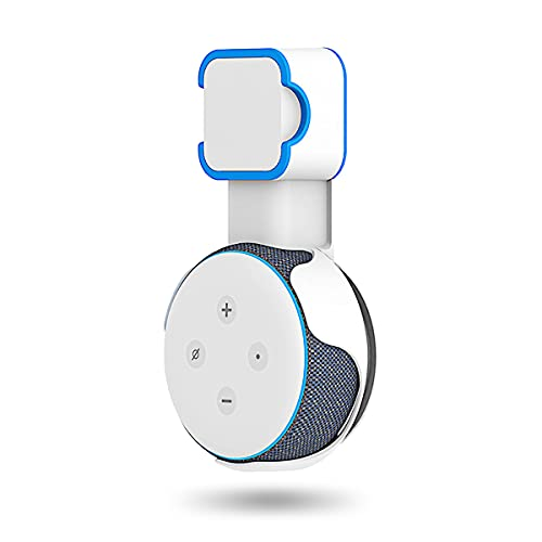 PUUUCI Outlet Wall Mount Holder Stand for Dot 3rd Generation [Square Plug Only], A Space-Saving Accessories with Cord Management for Your Echo Smart Home Speakers, Hide Messy Wires (White-1 Pack)
