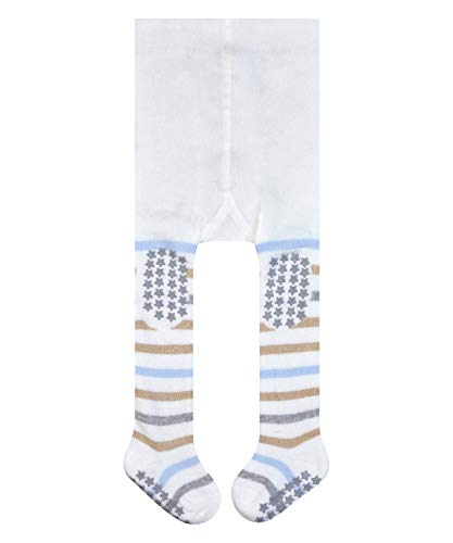 FALKE Unisex Baby Multi Stripe B TI Strumpfhose, Blickdicht, Weiß (Off-White 2040), 80-92