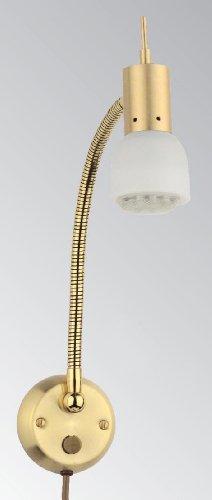 Wandleuchte 1er Spot mit Flexarm, Schalter und Steckerzuleitung, Messing matt gebürstet, Glas matt