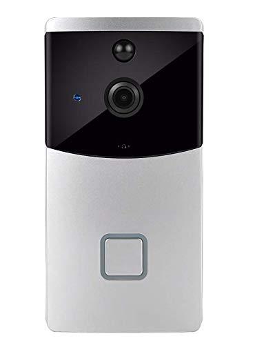 Videocitofono con Campanello Intelligente 720p HD 166 Gradi Telecamera antifurto Senza Fili grandangolare Senza Fili Set di telecamere WLAN (Batteria Non Inclusa) (Argento, OneSize)