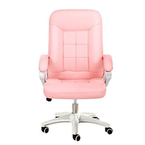 FENXIXI Serie Muebles Grandes Calificación del Cuero Silla de Oficina ergonómica giratoria ejecutiva con reposacabezas Ajustable (Color : Pink)