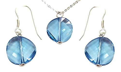 Sicuore Conjunto de Pendientes y Collar con Cristales de Swarovski - Plata De Ley 925 Incluye Cadena De Plata De 45cm Y Estuche para Regalo (Azul)