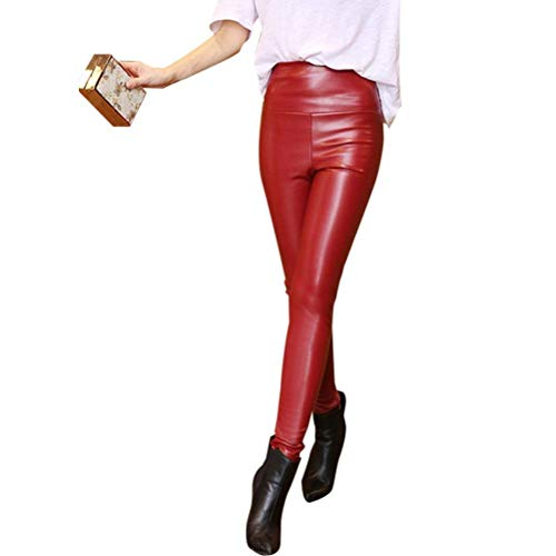 High Waist Faux Leather Chic Velvet Jungen Trousers Ladies Casual Pants Warm Winter Leggings Modedesign Damen Lederhosen (Color : Dunkelrot, Size : XL)