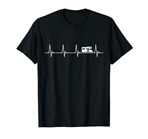Wohnmobil Camper Caravan Camping Zelten Herzschlag Geschenk T-Shirt